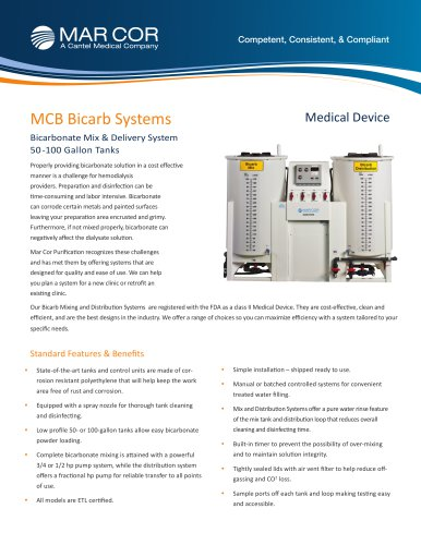 MCB Bicarbonate Mixing and Distribution Units