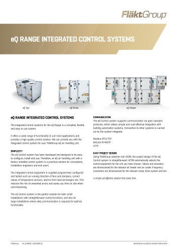 eQ RANGE INTEGRATED CONTROL SYSTEMS