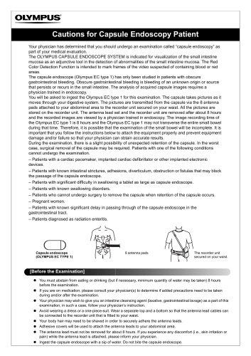 Cautions for Capsule Endoscopy Patient