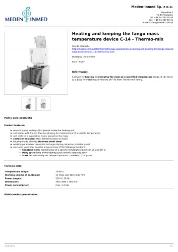 Heating and keeping the fango mass temperature device C-14 - Thermo-mix