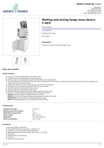 Melting and mixing fango mass device F-40/P