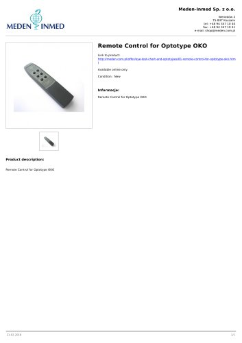 Remote Control for Optotype OKO