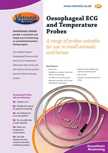 Oesophageal ECG and Temperature Probe Specification Sheet