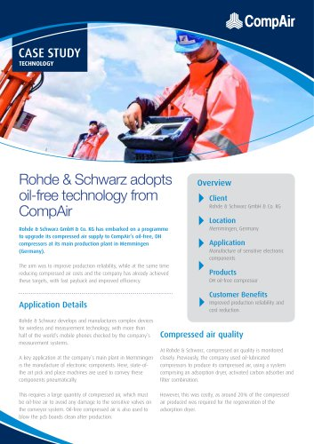 Rohde & Schwarz adopts oil-free technology from CompAir
