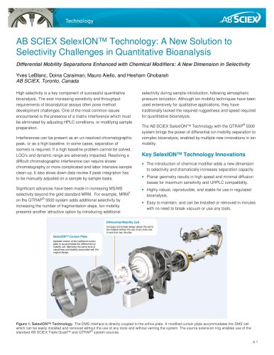 Brochure: AB SCIEX SelexION? Technology: A New Solution to Selectivity Challenges in Quantitative Bioanalysis