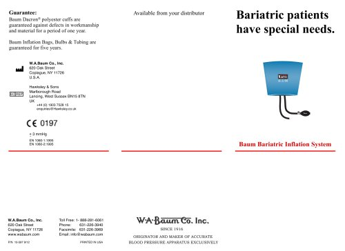 Baum Bariatric Inflation System Data Sheet