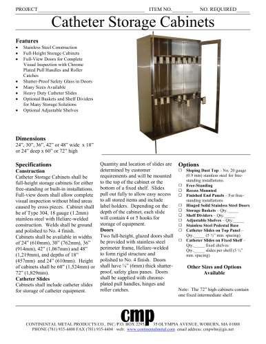 Catheter Storage Cabinets