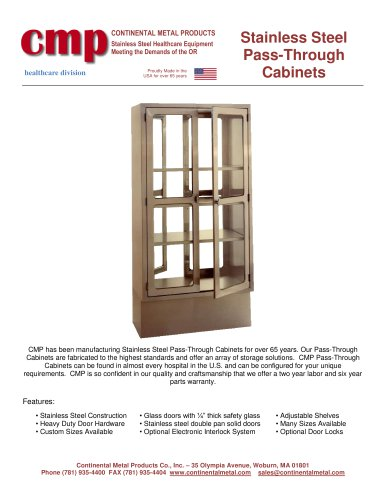 Stainless Steel  Pass - Through Cabinets
