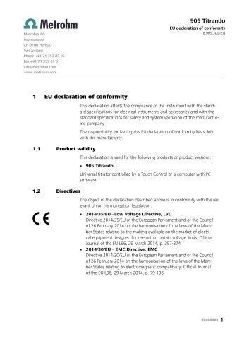 EU declaration of conformity 905 Titrando