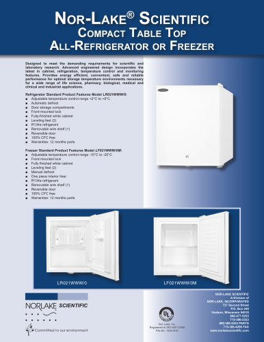 Compact Table Top All-Refrigerator or Freezer