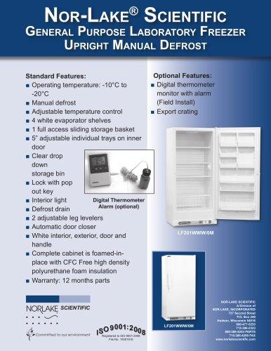 General Purpose Laboratory Freezer Upright Manual Defrost LF 201 WWW/OM
