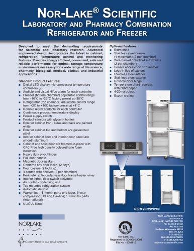 Laboratory and Pharmacy Combination Refrigerator and Freezer