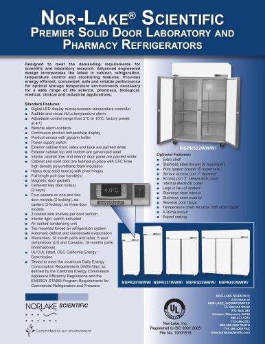 Premier Solid Door Laboratory and Pharmacy Refrigerators