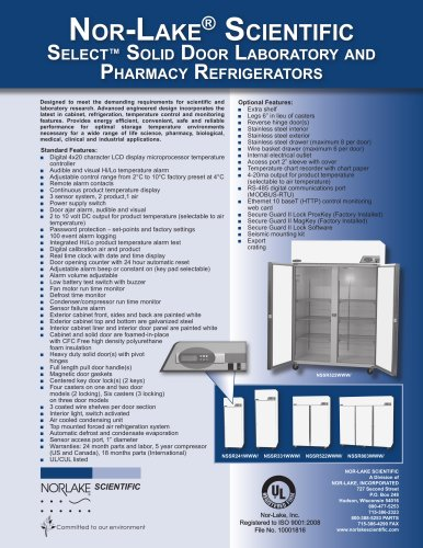 Select? Solid Door Laboratory and Pharmacy Refrigerators