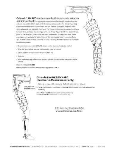 Hip Knee Ankle Foot Orthosis Orthomerica Pdf Catalogs