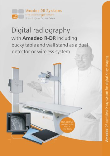 Digital radiography with Amadeo R-DR including bucky table and wall stand as a dual detector or wireless system