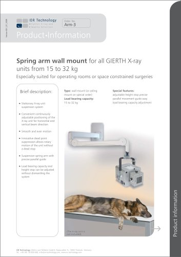 Spring arm wall mount  for all GIERTH X-ray units from 15 to 32 kg