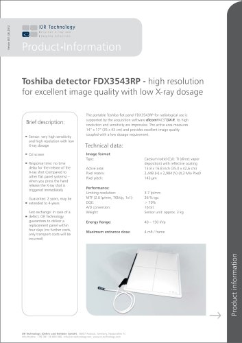 Toshiba detector FDX3543RP - high resolution for excellent image quality with low X-ray dosage
