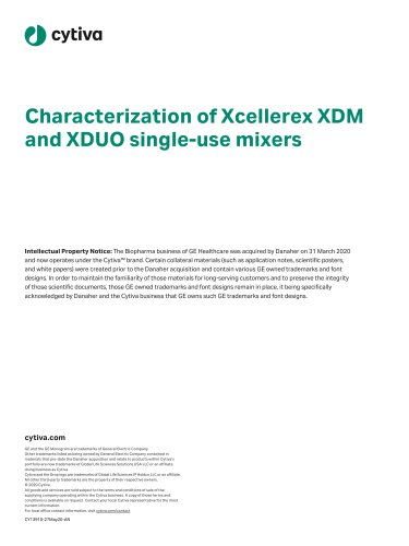 Characterization of Xcellerex™ XDM and XDUO single-use mixers