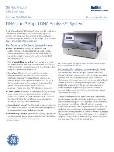 DNAscan Rapid DNA Analysis System (forensics)
