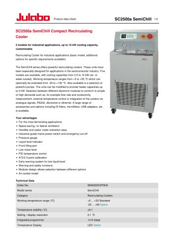 SC2500a SemiChill Compact Recirculating Cooler