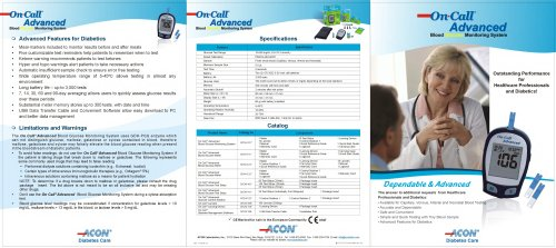 Glucose Meters / On Call® Advanced brochure