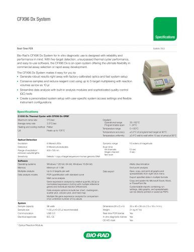 CFX96 Dx System Specifications Sheet