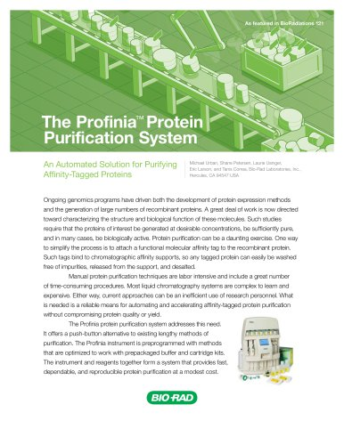 The ProfiniaTM Protein Purification System
