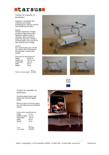 Trolley for transfer of stretchers, height adjustable