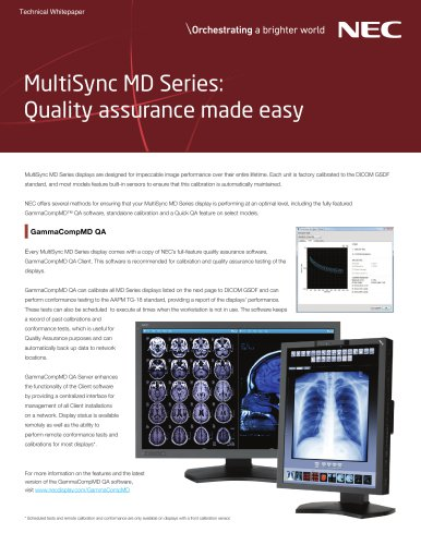 MultiSync MD Series: Quality assurance made easy