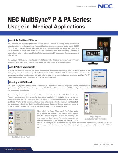NEC MultiSync® P & PA Series: Usage in Medical Applications