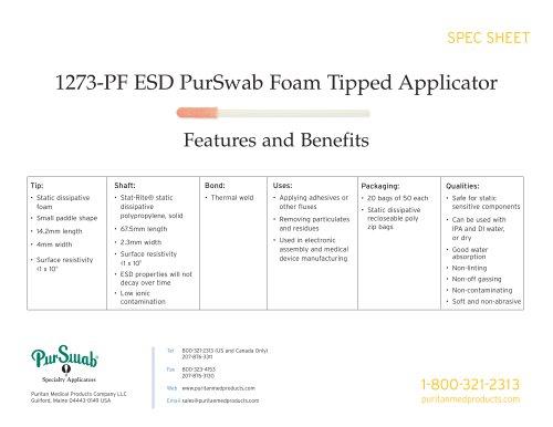 """3"""" ESD Foam Swab - 1273-PF ESD"""