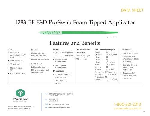 """3"""" ESD Foam Swab - 1283-PF ESD"""