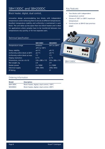 Block Heater, Dual control, Digital, SBH130DC, SBH200DC