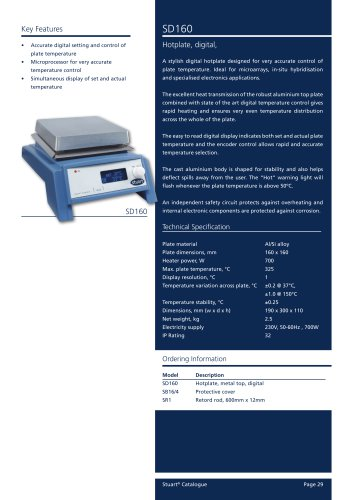 Hotplate 16x16cm, Digital, SD160