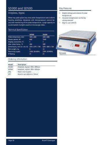 Hotplate, Digital, SD300 (30x30cm), SD500 (30x50cm)