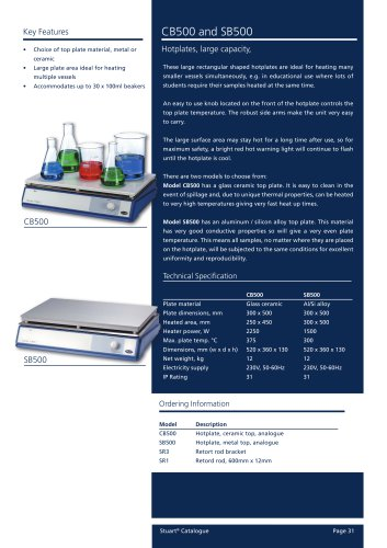 Hotplates, 30x50cm, Analogue, SB500, CB500