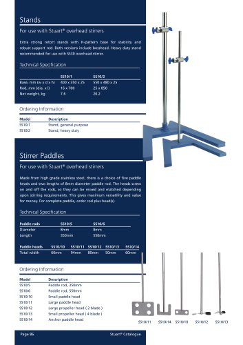 Overhead stirrer accessories, Stand and paddles