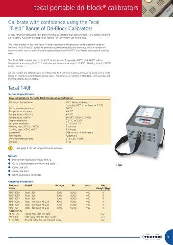 Calibrate with confidence using the Tecal ?Field? Range of Dri-Block Calibrators