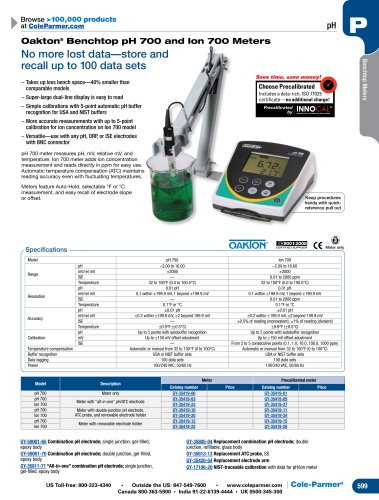 Oakton® Benchtop pH 700 and Ion 700 Meters