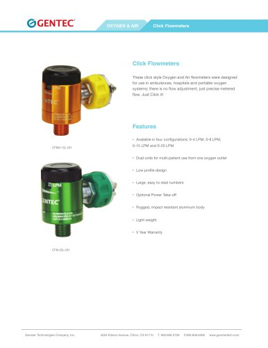 Click Flowmeters Oxygen and Air