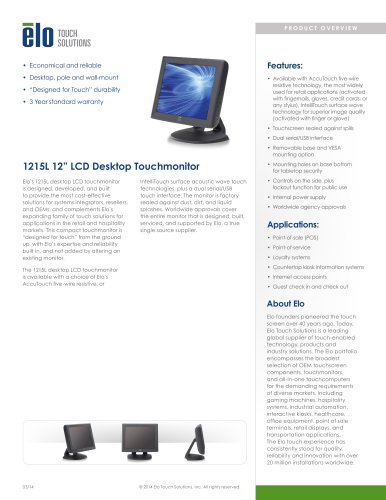 1215L 12-inch Desktop Touchmonitor