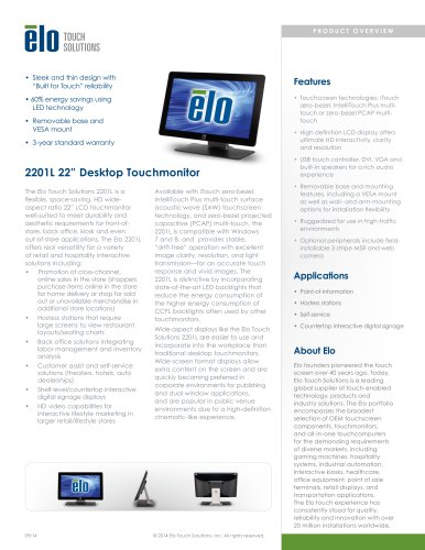 2201L 22-inch Desktop Touchmonitor