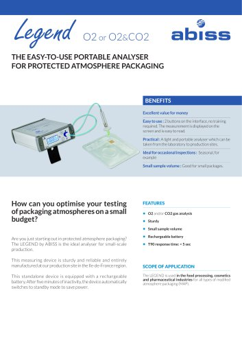 Legend portable analyser for protected atmosphere packaging