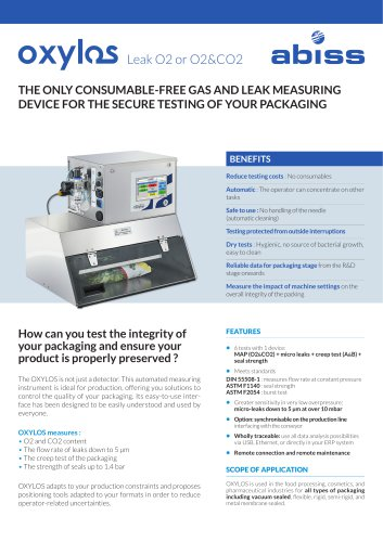 Oxylos Automated Leak O2 CO2 Analyzer Abiss