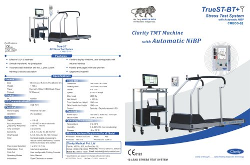 Clarity TMT Machine with Automatic NiBP