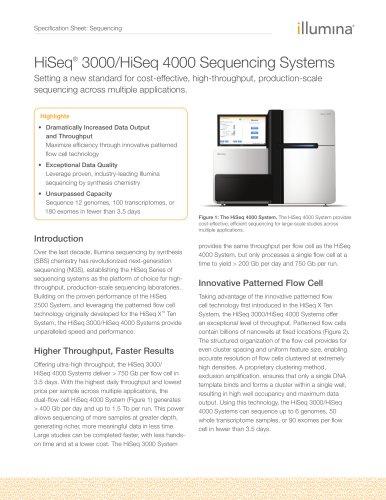 HiSeq® 3000/HiSeq 4000 Sequencing Systems