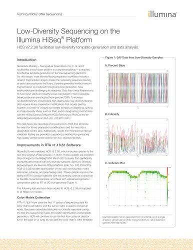 Low-Diversity Sequencing on the Illumina HiSeq® Platform