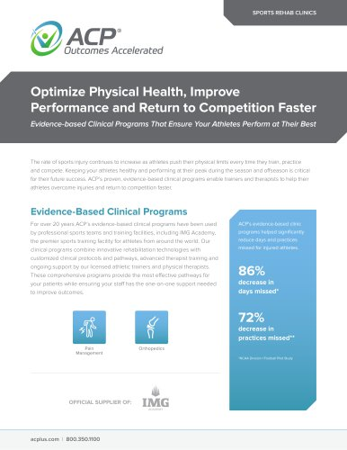 Optimize Physical Health, Improve Performance and Return to Competition Faster