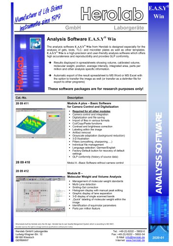 E.A.S.Y Win - Analysis Software
